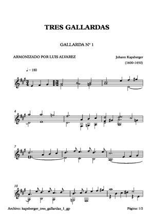 Sheet Music kapsberger tres gallardas 1