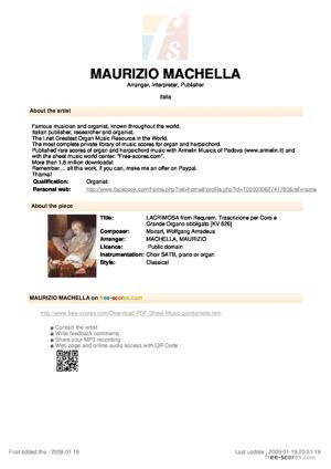 Sheet Music LACRIMOSA from Requiem. Trascrizione per Coro e Grande Organo obbligato