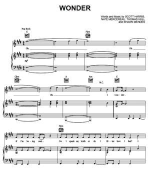Sheet Music Shawn Mendes - Wonder