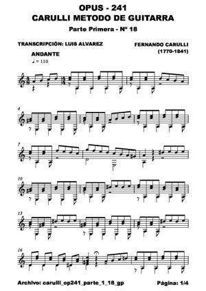 Sheet Music carulli op241 parte 1 18 gp