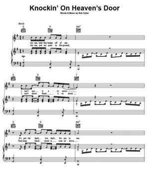 Sheet Music Bob Dylan - Knockin' On Heaven's Door