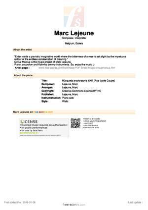 Sheet Music Marc Lejeune - Búsqueda exploratoria #007