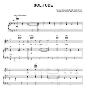 Sheet Music Duke Ellington - Solitude