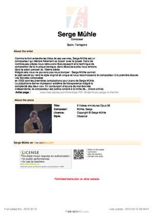 Sheet Music 8 Valses miniatures Opus 59