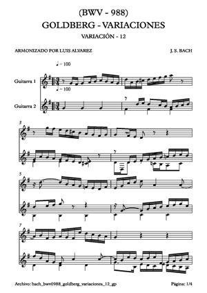 Sheet Music bach bwv0988 goldberg variaciones 12