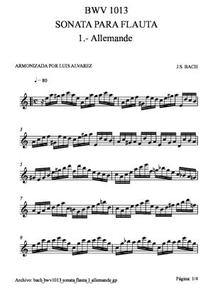 Sheet Music bach bwv1013 sonata flauta 1 allemande