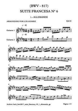 Sheet Music bach bwv0817 suite francesa nº6 1 allemande