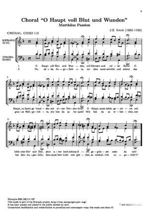 Sheet Music Matthäus Passion, Choral