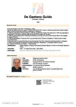Sheet Music Adagio per tromba e archi