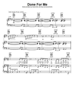 Sheet Music Charlie Puth ft Kehlani - Done For Me