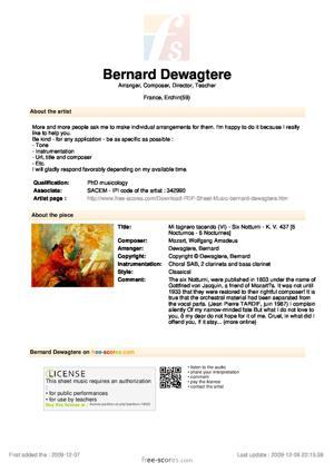 Sheet Music Mi lagnero tacendo (VI) - Six Notturni - K. V. 437