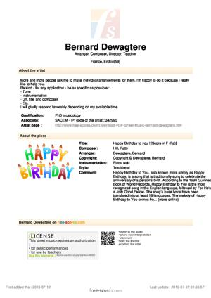 Sheet Music Happy Birthday to you !