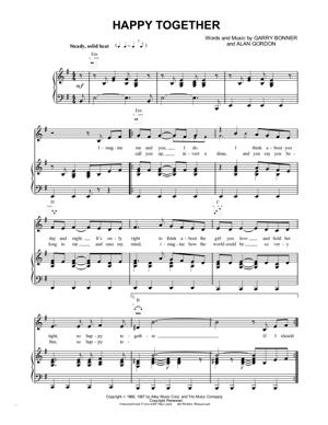 Sheet Music The Turtles - Happy Together