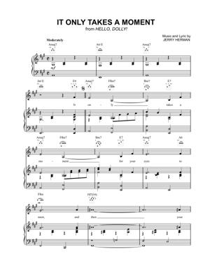 Sheet Music from Hello Dolly - It Only Takes a Moment