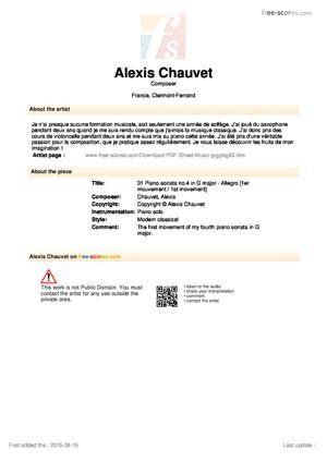 Sheet Music 01 Piano sonata no.4 in G major - Allegro