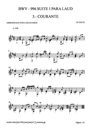 Sheet Music bach bwv0996 suite laud nº1 3 courante