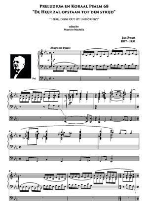 """Sheet Music Preludium en Koraal Psalm 68 """"De Heer zal opstaan tot den strijd"""" ( """" Herr, deine Güt ist unbegrenzt"""" )"""