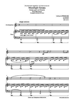 Sheet Music Moonlight Sonata 1st movement - Op.27, No2