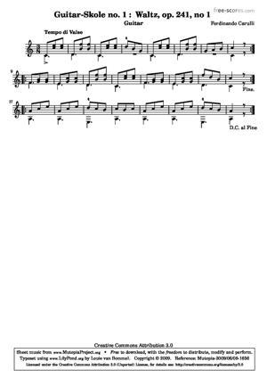 Sheet Music Guitar School no. 1 : Waltz
