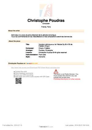 Sheet Music Variation rythmique sur le Prélude Op.28 n°20 de Frédéric Chopin