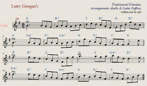 Sheet Music larry grogan's jig abelle lades neffous irish fiddle