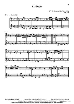 Sheet Music 12 Duets (No. 1: Allegro)