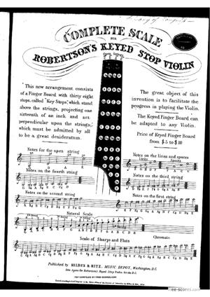 Sheet Music Complete scale for Robertson's keyed stop violin
