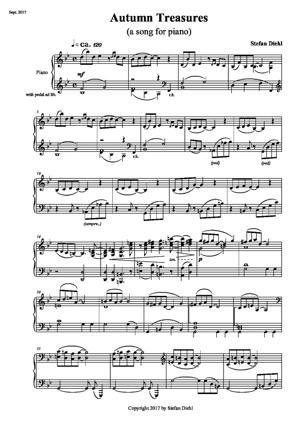Sheet Music Autumn Treasures (a piano song)