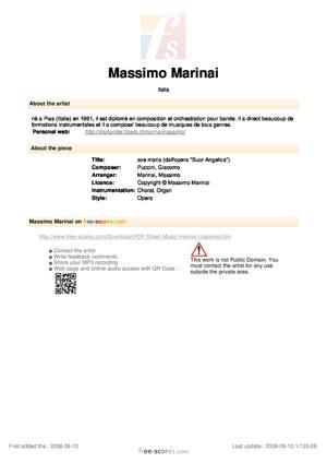 "Sheet Music ave maria (dall'opera ""Suor Angelica"")"