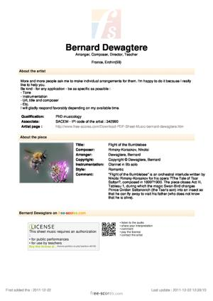 Sheet Music Flight of the Bumblebee