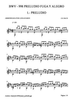 Sheet Music bach bwv0998 laud 1 preludio