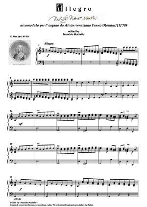"""Sheet Music """"Allegro del Sig. Don Antonio Vivaldi accomodato per l'Organo da Alvise veneziano l'anno D[omini] [1]'799"""""""