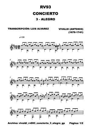 Sheet Music vivaldi rv093 concierto 3 alegro gp