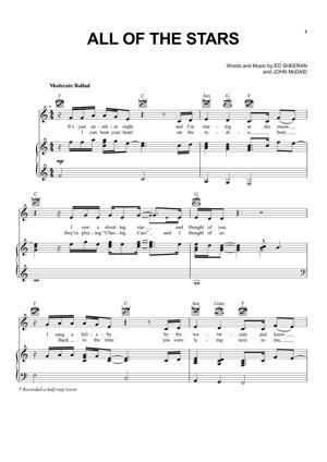 Sheet Music Ed Sheeran - All Of The Stars