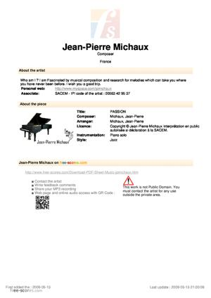 Sheet Music PASSION