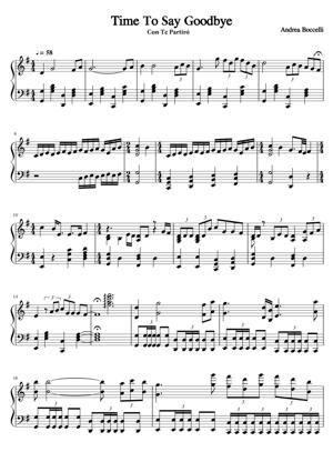 Sheet Music Andrea Bocelli - Time To Say Goodbye
