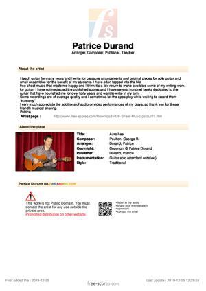 Sheet Music Aura Lee