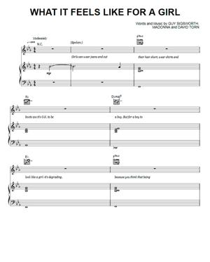Sheet Music Madonna - What It Feels Like For A Girl