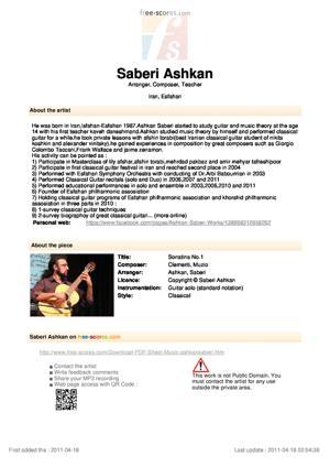 Sheet Music Sonatina No.1