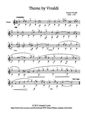 Sheet Music Theme by Vivaldi