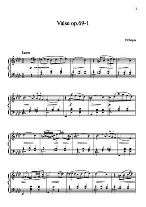 Sheet Music Waltz Opus 69-1