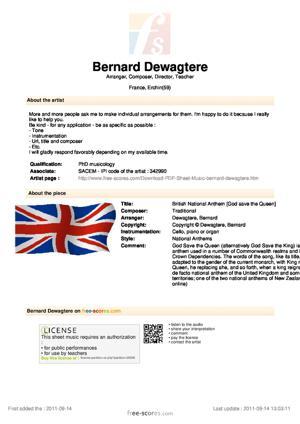 Sheet Music British National Anthem