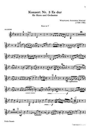 Sheet Music Horn Concerto No. 3