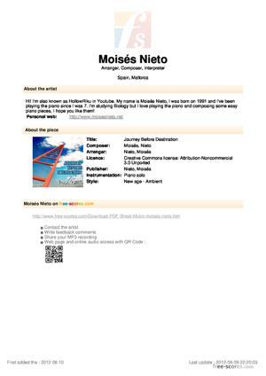 Sheet Music Journey Before Destination