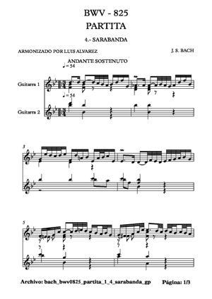 Sheet Music bach bwv0825 partita 1 4 sarabanda