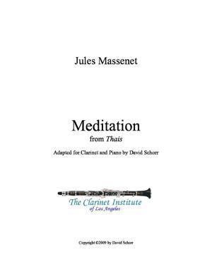 Sheet Music Jules Massenet Meditation from Thais - Clarinette et Piano