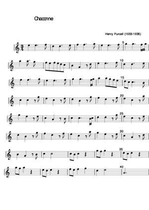 Sheet Music Chaconne de Purcell
