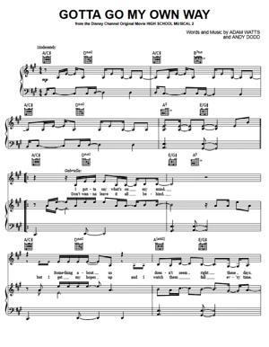 Sheet Music from High School Musical - Gotta Go My Own Way