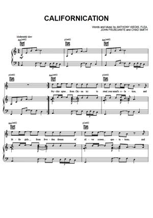 Sheet Music Red Hot Chili Peppers - Californication