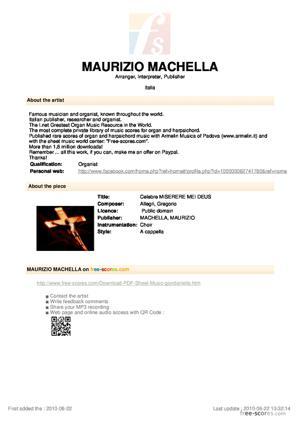 Sheet Music Celebre MISERERE MEI DEUS